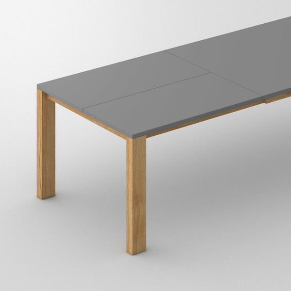 Extensible Linoleum Wood Table VARIUS BUTTERFLY LINO custom made in Solid oak, oiled by vitamin design