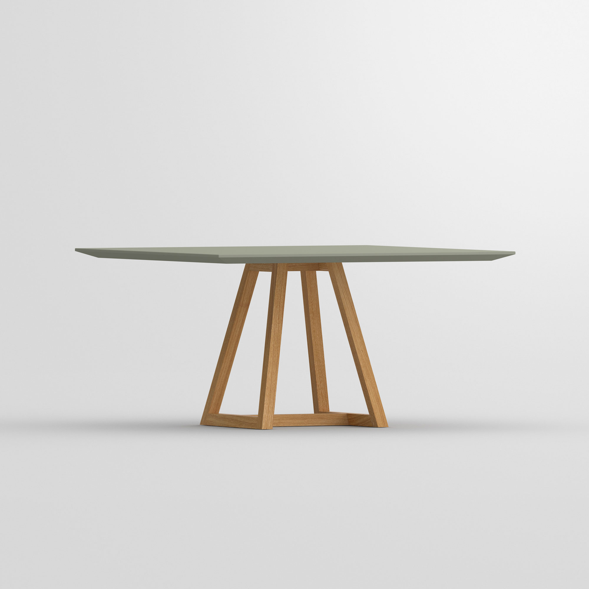 Linoleum table MARGO SQUARE LINO cam2 custom made in solid wood by vitamin design
